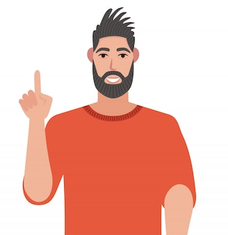 Concept of a great idea. man with a joyful face and a raised index finger on a white background