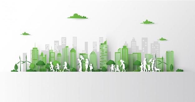 Concept of green city with building on earth.