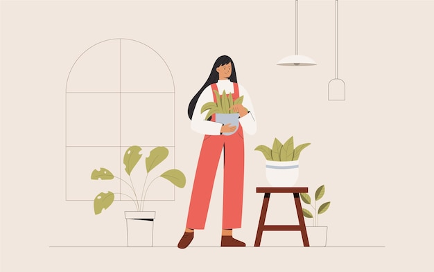 Concept of growing and caring house plants