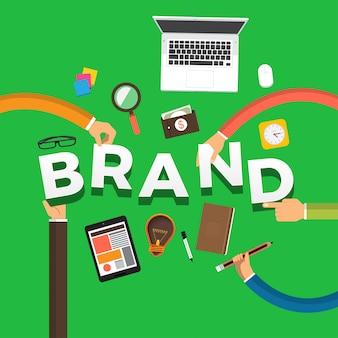 Концепция рука создать бренд. иллюстрации.