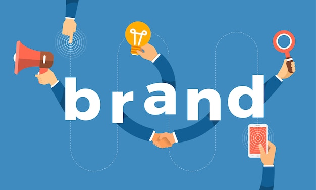 Концепция рука создать значок символа и слова бренда. иллюстрации.