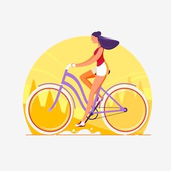 コンセプトの見出しバナー。女性が自転車に乗る。都市の景観。