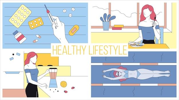Концепция здорового образа жизни и активного спорта. молодая женщина соблюдает диету и здоровье, принимает витамины, делает витаминные коктейли, плавает в бассейне. мультфильм линейный контур плоский стиль. векторные иллюстрации.