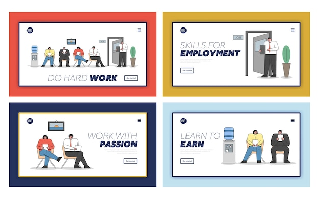 Concept of hr and job interview. website landing page.