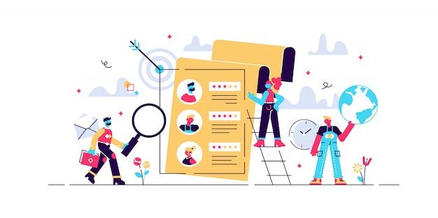 コンセプト人材、webページ、バナー、プレゼンテーション、ソーシャルメディア、ドキュメント、カード、ポスターの募集。履歴書の記入、従業員の雇用、人々がフォームに記入するイラスト
