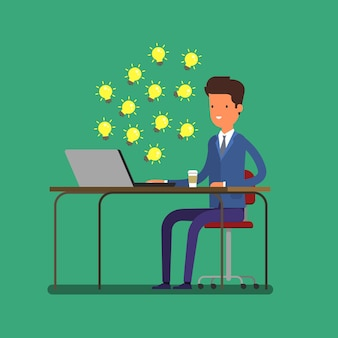 Concept of idea. business man looking for ideas on the internet. flat design, vector illustration.