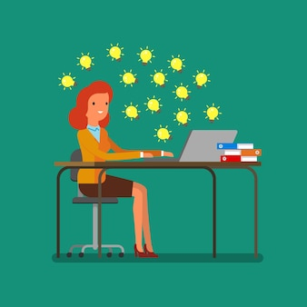 Concept of idea. business woman looking for ideas on the internet. flat design, vector illustration.