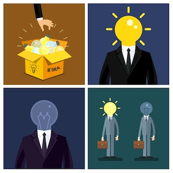 Concept of idea. hand keep up symbol of idea - light bulb from idea box. business man with bulb instead of his head. flat design, vector illustration