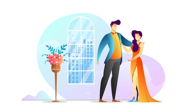 コンセプト イラスト カップル ダンス ロマンチックな創造的なテンプレート