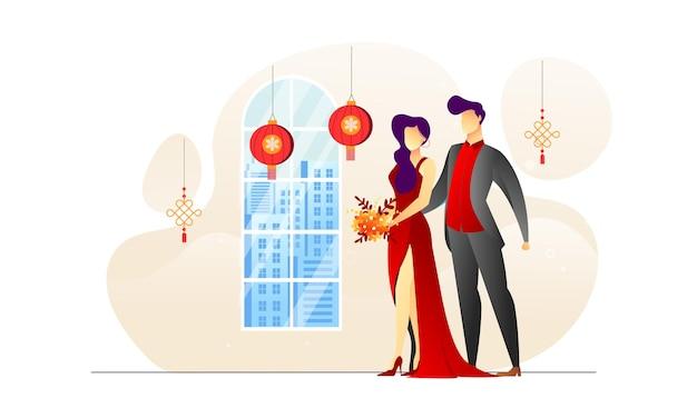 개념 일러스트 커플 빨간 가운 중국 lampion 그림 배경
