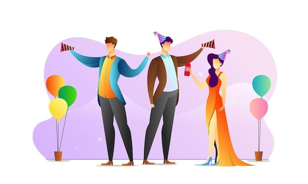 개념 일러스트 사람들 와인 생일 파티 크리 에이 티브 템플릿