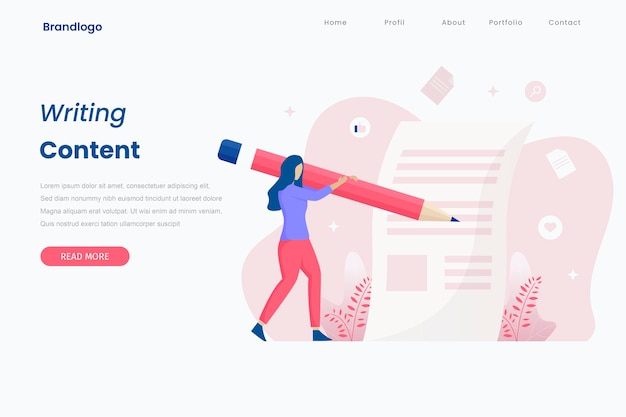 Concept illustration of article writing landing page