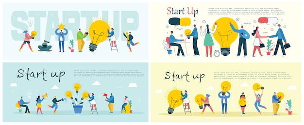 Concept illustration banners of start up and big idea in flat style