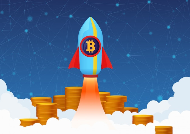 Concept illustration of bitcoin growth with rocket and coins. cryptocurrency pump.