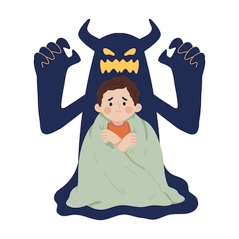 Concept illustration of a child's fear of ghost shadows