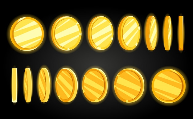 Concept illustration of coins.  illustration. frames for flash animation in games, video and cartoon.