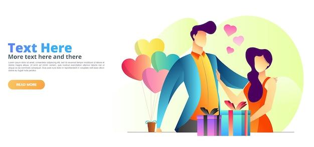컨셉 일러스트 커플 발렌타인 선물 방문 페이지 템플릿