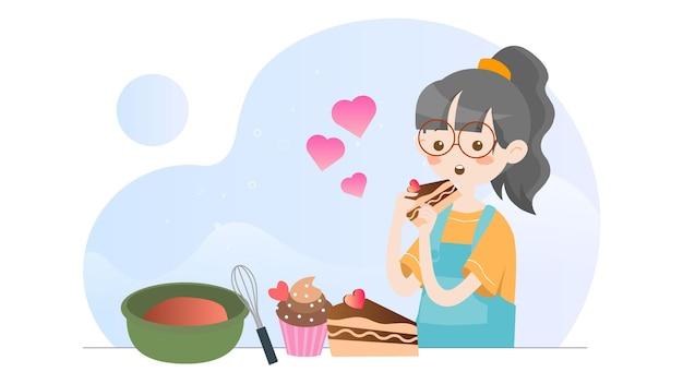 Иллюстрация концепции милая девушка ест кекс хлебобулочные