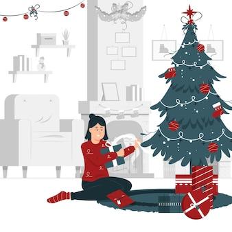 소녀의 컨셉 일러스트 디자인 열고 크리스마스 선물을 들고
