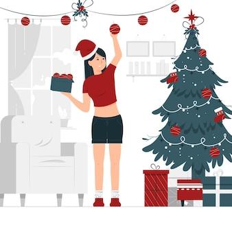소녀의 컨셉 일러스트 디자인은 크리스마스 장식을 올려