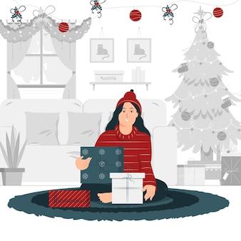 앉아서 크리스마스 선물을 들고 소녀의 컨셉 일러스트 디자인
