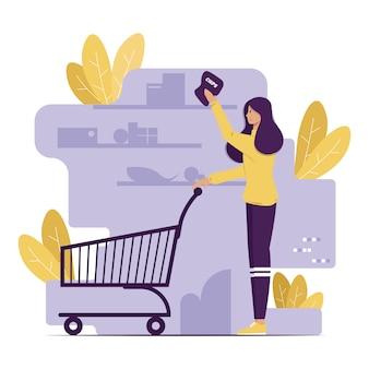 食料品の買い物をしている女性の概念図のグラフィックデザイン。塗りつぶされたスタイルのフラットデザイン。