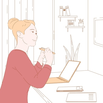 Concept illustration graphic design of work from home, freelance, passive income.
