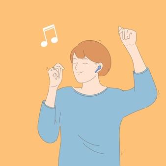 График иллюстрации концепции наслаждения танцами. ручной обращается персонаж слушает музыку