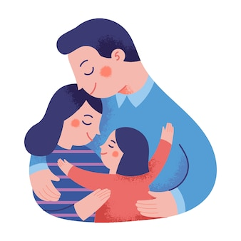 Concept illustration of a happy family hugging each other