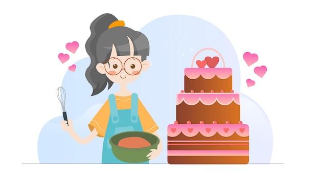 Концепция иллюстрации малыша выпечки торта валентина шаблон