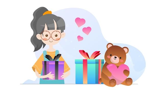 Concept illustration kid holding present valentine template