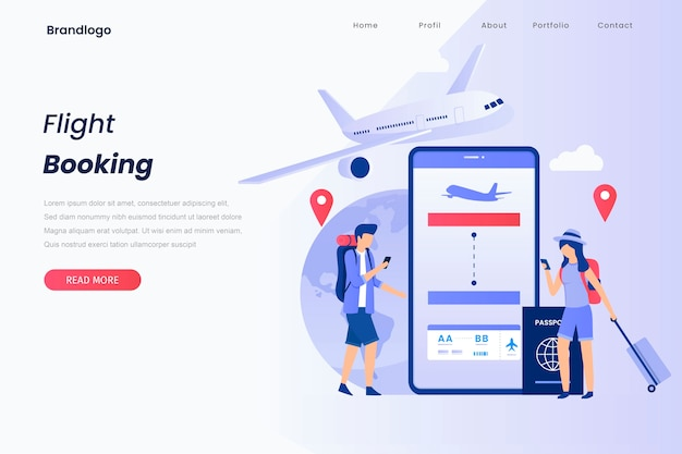 Concept illustration landing page of book your flight