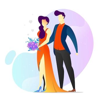 バレンタイン テンプレートの後ろから女性を抱き締める概念図男