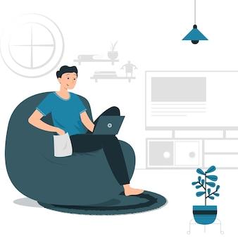 コンピューター、ラップトップ在宅勤務、フリーランサーで自宅から仕事をしている男性の概念図。塗りつぶしスタイルのフラットデザイン