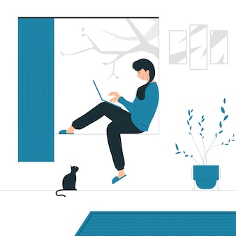 Иллюстрация концепции работы женщины из дома в сопровождении кошки. заполненный плоский дизайн