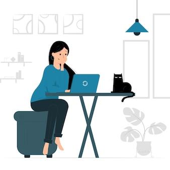 Иллюстрация концепции женщины, работающей из дома на компьютере, удаленной работы ноутбука дома в сопровождении кошки. заполненный плоский дизайн