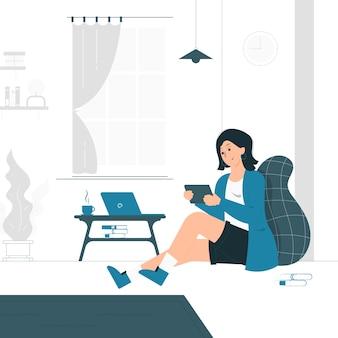 Иллюстрация концепции женщины работают из дома, сидя на диване. заполненный плоский дизайн