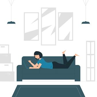 Иллюстрация концепции женщины, работающей из дома, пока ложится. заполненный плоский дизайн