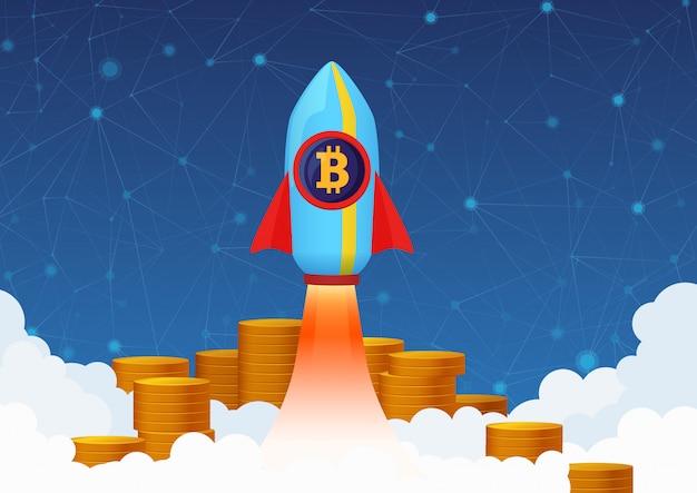 Концепция иллюстрация роста биткойн с ракетой и монетами. криптовалютный насос.