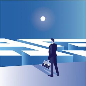 ビジネスマンの概念図はスーツケースを持って前の迷路で出口を得る方法を混乱させる