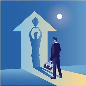 Иллюстрация концепции бизнесмена перед тенью чемпиона со стрелкой вверх, держащей трепи