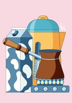 가스 스토브에 cevze와 함께 커피를 만드는 아침 일상의 개념 그림