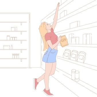 Иллюстрация концепции достижения, захвата чипа. рисованный персонаж делает продукты