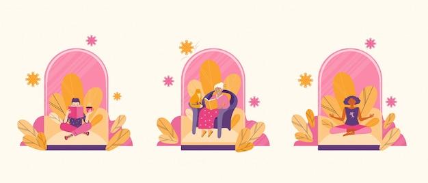 Иллюстрация концепции безопасного социального расстояния и защиты от вирусов. проводите время в карантине, читая книги и занимаясь медитацией. люди внутри стеклянного купола. охрана здоровья. квартира .