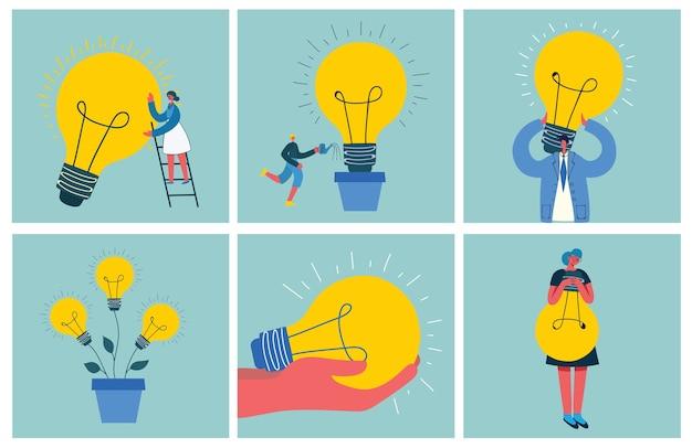 フラットスタイルのスタートアップと大きなアイデアの概念図