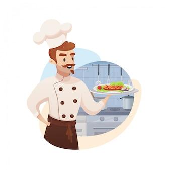 식당 사업의 컨셉 일러스트
