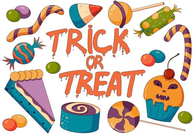 Иллюстрация концепции трюка или угощения, конфетной смеси, вечеринки на хэллоуин с жуткими конфетами в плоском стиле
