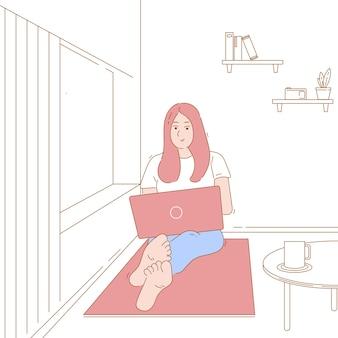 Иллюстрация концепции женщины, девушки работают из дома, внештатный, пассивный доход. рисованный персонаж