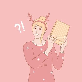 Иллюстрация концепции женщины, держащей рождественские подарки или настоящий момент. нарисованный от руки