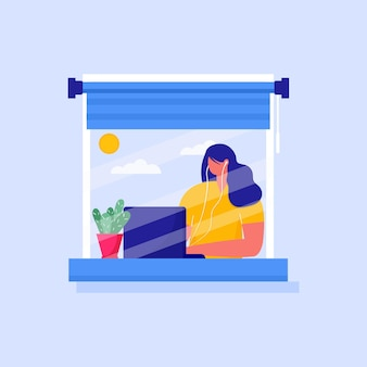 Иллюстрация концепции работы дома, коворкинг. женщина, работающая на ноутбуке в доме. самоизоляция, карантин в связи с профилактикой коронавируса. оставайтесь дома в целях предосторожности covid - 19. вектор